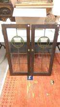 Two Leaded Glass Bookcase Doors