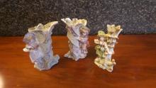 3 Antique Bisque Figural Vases