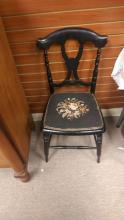 Ebonized Victorian Music Chair w/ needlework seat