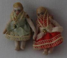 2 Antique Miniature Bisque Dolls in Walnut Shell