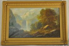 Hudson River School Painting with Waterfall