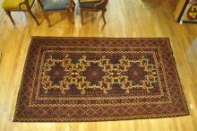 Handmade Oriental Carpet with Geometric Pattern