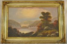 Antique Hudson River School Oil Painting Landscape