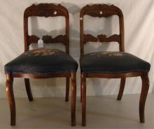 Pair of Antique Rose Carved Victorian Chairs