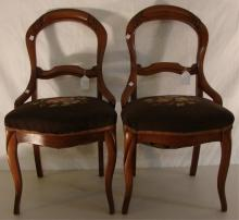 Pair of Victorian Finger Carved Side Chairs