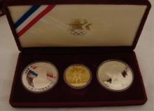 Coin Lot of 1984 Silver & Gold 3 piece Olympic Set