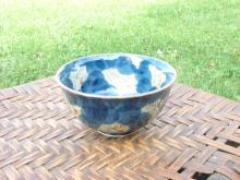 Asian Porcelian Bowl - Mottled Blue Spots