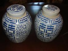 Pair of Chinese Blue & White Ceramic Storage Jars