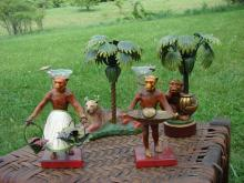 4 Pc. Painted Metal Figural Table Decoration Set