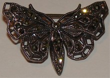Antique Marcasite Moth Pin - Mkd.