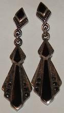 Sterling Marcasite & Onyx Pierced Earrings- Vintag