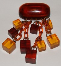 Vintage Amber Colored Pin - Early Plastic - Art De