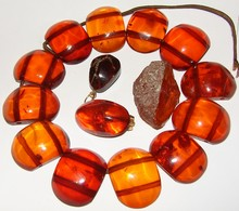 Vintage Amber Jewelry Parts - 14 Individual Pieces