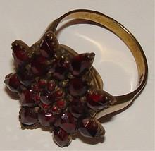 Antique Garnet & 8 K Gold Snowflake Ring Size 7 1/