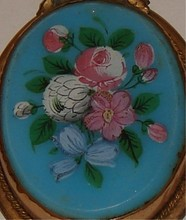 Victorian Hand Painted Pin in Gold Filled Mount