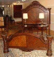 Hand Carved Mixed Wood Queen Size Bed