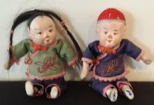 Pair of Antique Asian Dolls - Painted Composition