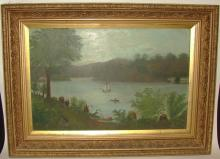 American Antique Folk Art Oil Painting on Board