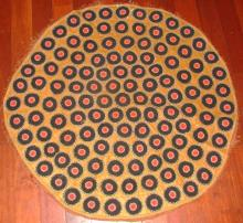 American Antique Hand Sewn Folk Art Rug -Circles