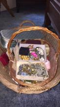 Basket of Antique and Vintage Costume Jewlery