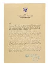 1959 Fan Letter Reply from Elvis Aron Presley on U.S. Army Letterhead