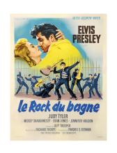 1957 <em>Jailhouse Rock</em> French Grande Movie Poster - Beautiful Jailhouse Musical Number Image