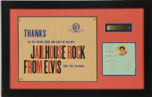 1957 <em>Jailhouse Rock</em> Unused Premiere Press Invitation with 45 Record Inside and Cast and Crew Thank You Envelope