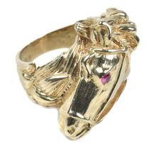 1973 Elvis Presley Owned and Worn Horse Head Ring with a Ruby Eye - Gifted to Bodyguard Sam Thompson