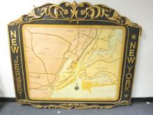 Large Carved NY and NJ Map Sign