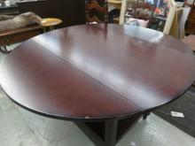 Mahogany drop leaf table with 2 under shelves