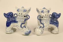 Pair blue and white Chinese Dog Book Ends