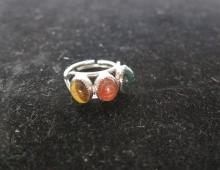 Natural stone and silver ring