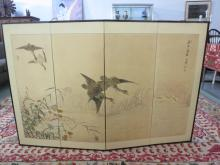 Hand-painted four panel Korean Silk Screen