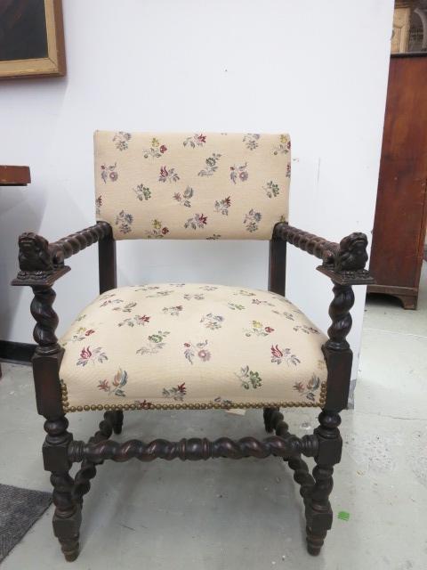 Carved Lion Foo Dog Head Antique Arm Chair