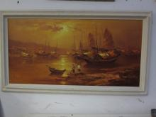 WOUNG signed maritime oil on  canvas