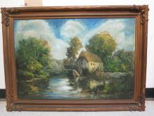 Antique oil watermill on the river