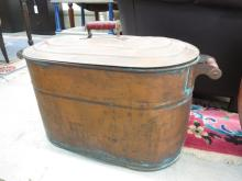 Large Lidded  Antique Copper pot wood handles