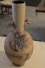 Tall Neck Urn Applied Organic Crafted Clay