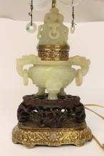 Antique Chinese Qing Dynasty Jade Lamp c.19th c.