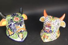 Two Hand Painted Ceramic Bull Head Planters
