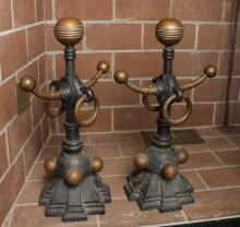 Antique English Industrial Modern Art DecoAndirons