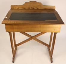 Antique tall oak School desk