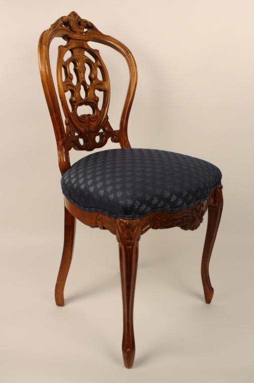 Small Victorian Vanity Chair Dark Blue Seat