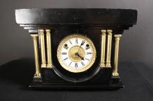 Antique Ebony and gold leafed wood Mantle Clock