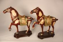 Pair Asian Pottery Horses