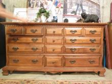 Vintage Maple Dresser with brass hardware.
