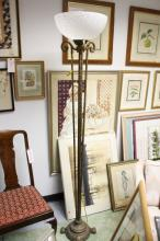 Copper on Metal Torchiere Style Floor Lamp