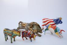 Group Lot of Five Hand-painted Bull Figures