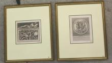 Pair of Italian Gilt Framed Numbered Lithographs