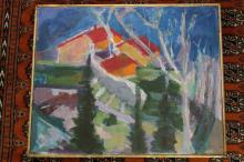 WOLFSON, Paula. Canale Abstract Cabins in Woods